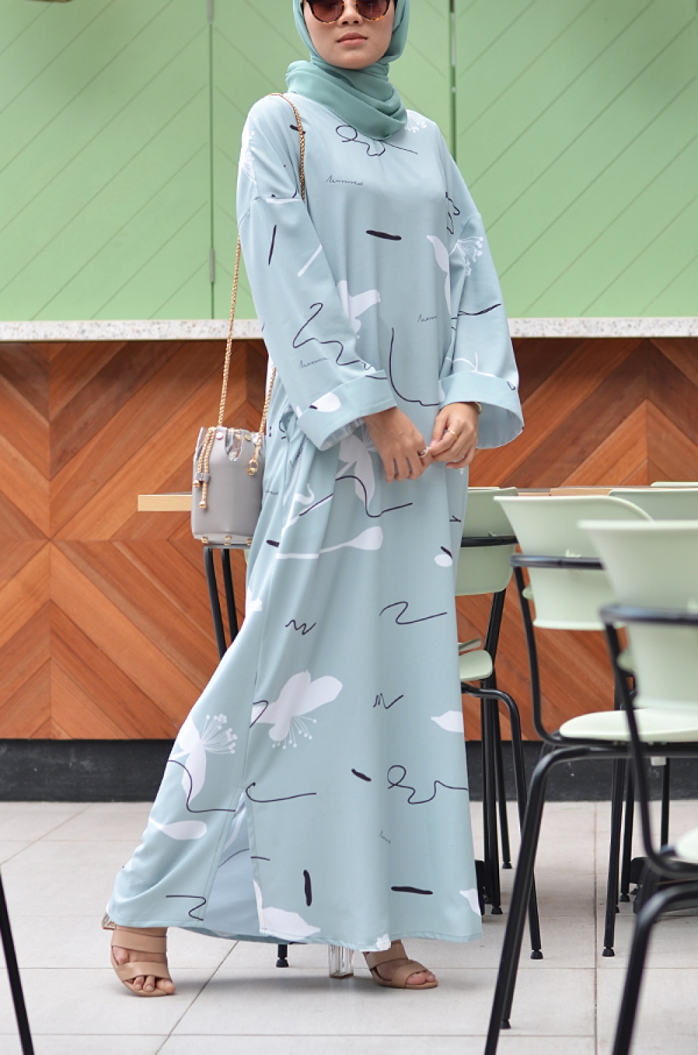 BOHAMIA PRINTED DRESS (DUSTY GREEN)