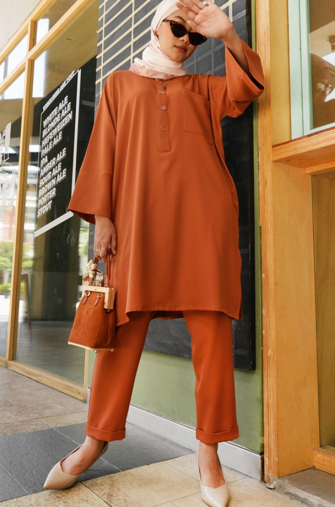 SELENA TUNIC SET (BRICK ORANGE)
