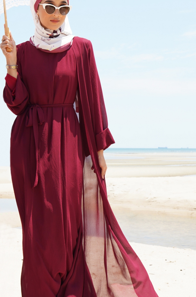 MAISY CHIFFON DRESS (MAROON)
