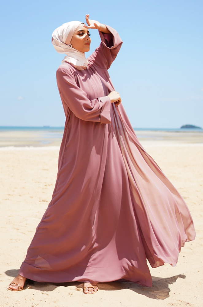 MAISY CHIFFON DRESS (DUSTY PINK)
